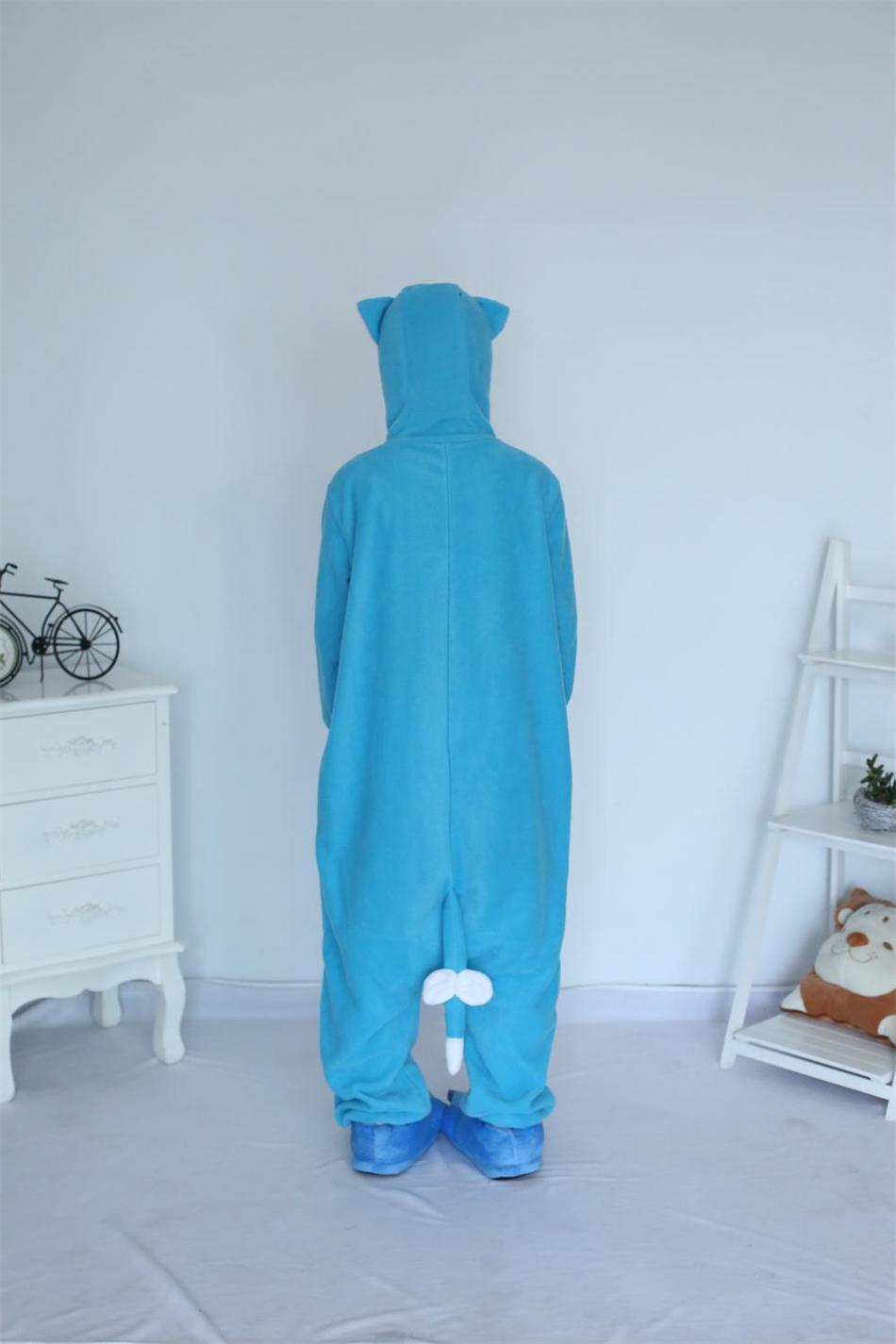 Kigurumi Cartoon Animal Blue Happy Cat Onesie Unisex Adulto Pijamas - Disfraces - foto 6
