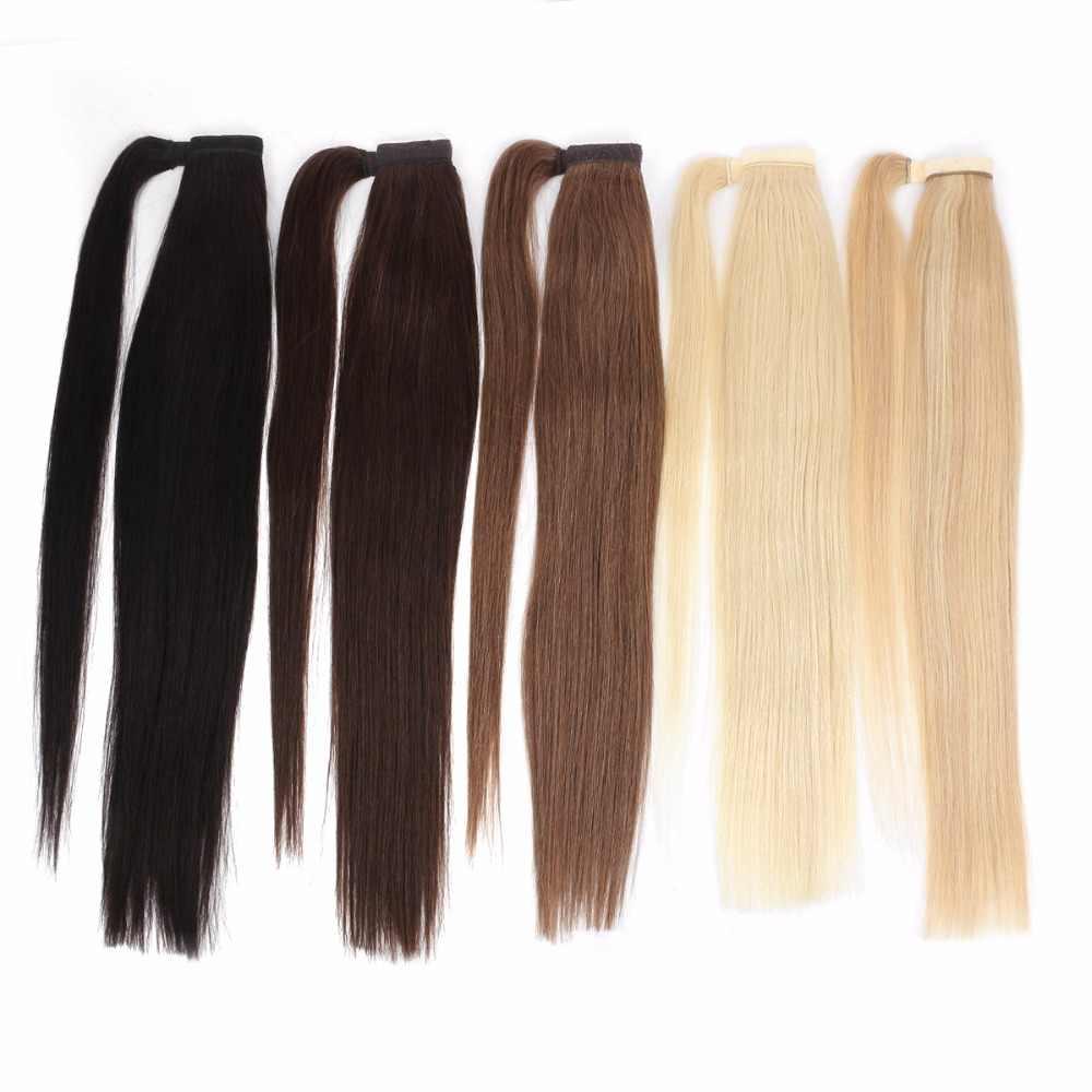 Bhf cabelo humano rabo de cavalo brasileiro remy em linha reta envoltório rabo de cavalo em torno da peruca 60g 100g 120g hairpieces natural caudas