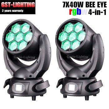 משלוח חינם 2 יח'\חבילה 7x40 w גבוהה כוח LED שלב אור לשטוף דבורה עין הזזת ראש אור