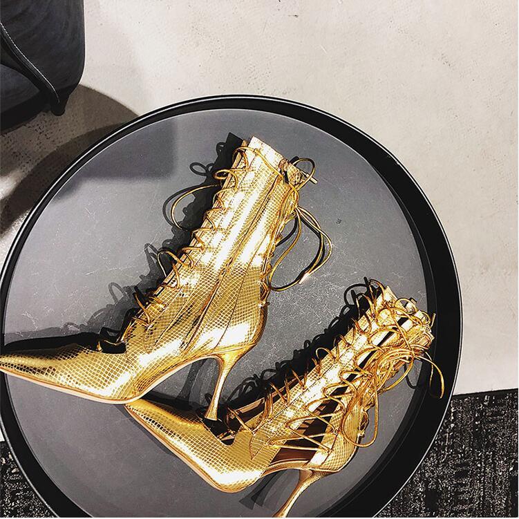 Au Haute Or Cuir Noir gold Sexy Mince Black Mode Découpes Dos Véritable Talons Pointu Up Lace Chaussons En Chaussures Glissière Bout 2018 Femmes BOxUaHOYq