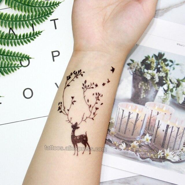 6be27e227 Waterproof Temporary Tattoo sticker on body black flowers deer tattoo Water  Transfer fake tattoo flash tattoo