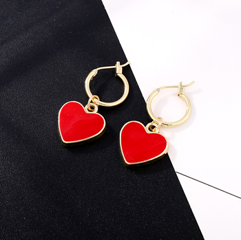 1Pair Korea Chic Red Heart Pendant Hoop Earrings For Women Girl Gold Color Ear Hoop Earring.jpg 350x350 - 1Pair Korea Chic Red Heart Pendant Hoop Earrings For Women Girl Gold Color Ear Hoop Earring Fashion Love Earrings Jewelry E606