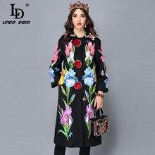 LD LINDA DELLA 2018 Новый осень-зима пальто женский Для женщин цветочным жаккард Винтаж теплый длинное пальто Верхняя одежда Пальто