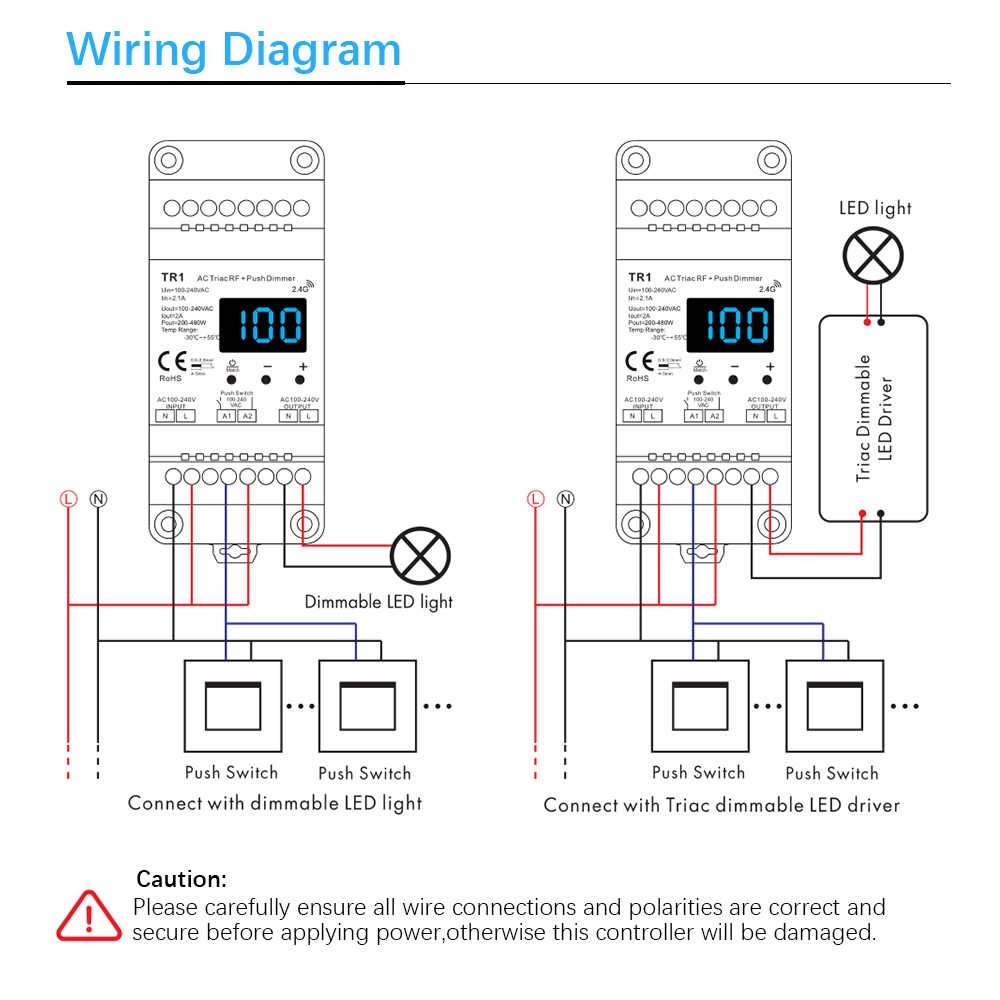 Ściemniacz LED 220V 230V 110V AC Triac bezprzewodowy wifi rf ściemniania przełącznik wciskany z 2.4G zdalna regulacja ściemniania przełącznik na szynę DIN żarówka ledowa