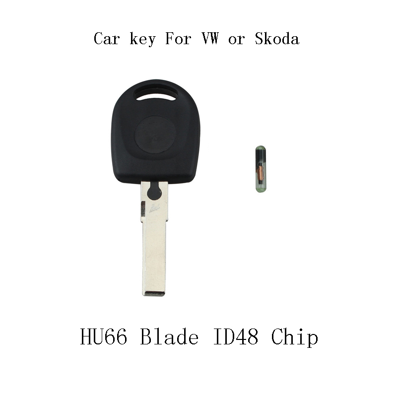 1Pcs Transponder Key Case With ID48 chip For VW Polo Golf for SEAT Ibiza Leon for SKODA Octavia Chip shell