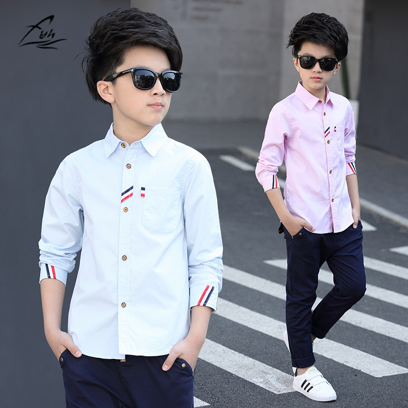 2017 Boys Clothes New Spring Autumn Boys' Cotton Casual Shirts Kids Long Sleeve Shirt Boys Blouses Turn-Down Collar Shirt business casual men long sleeve shirt spring autumn silm fit cotton stitching solid color oxford textile