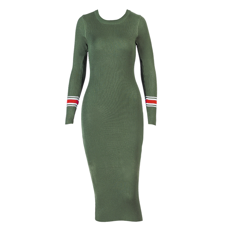 Sweater Dress Clothes For Woman Spring 2018 Mid-Calf Length Long Sleeve Round Neck Body WS5359U