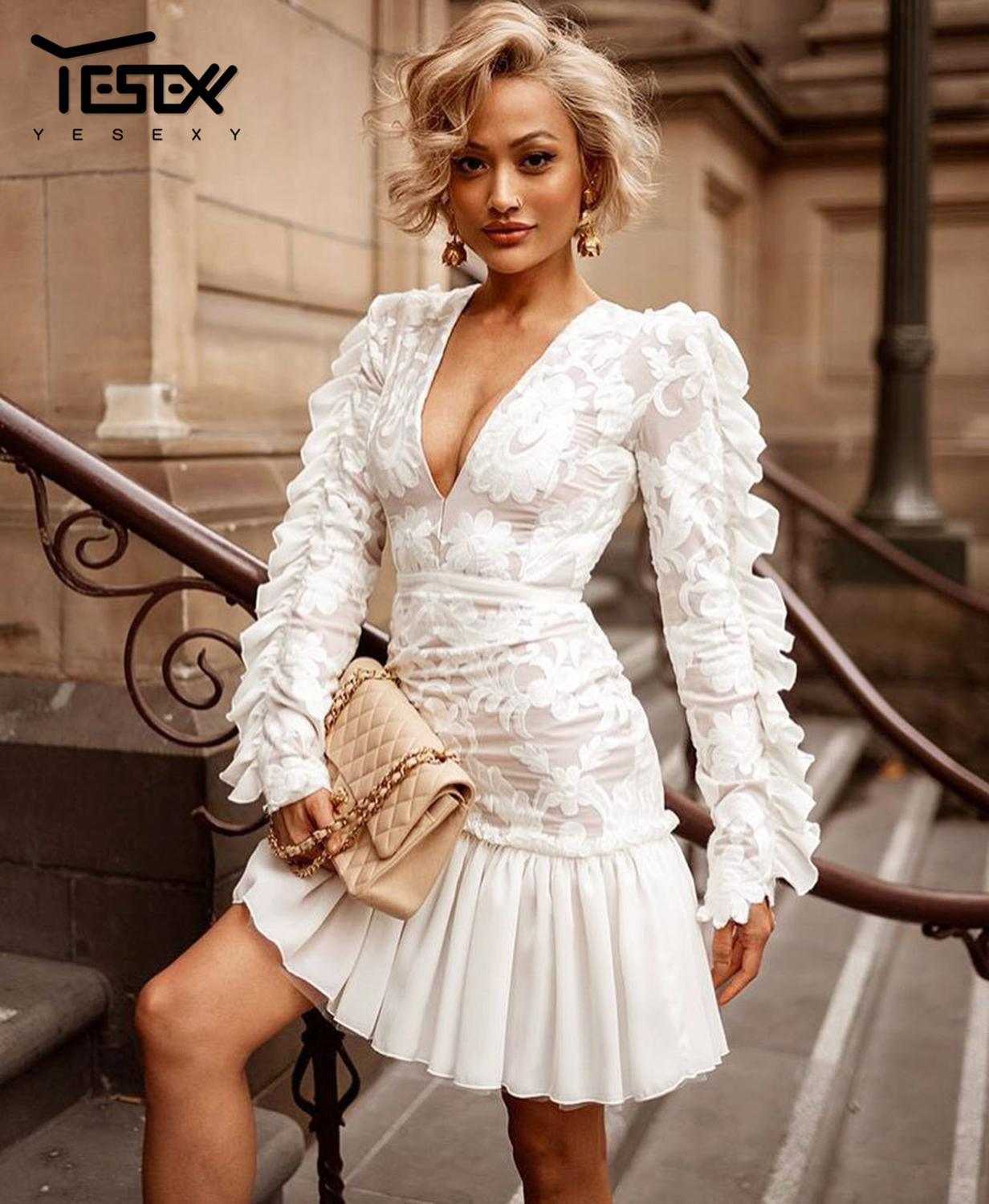Yesexy 2020 Autumn Deep <font><b>V</b></font> <font><b>Neck</b></font> <font><b>Sexy</b></font> Women <font><b>Dress</b></font> Ruffles Flower Embroidery Long Sleeve <font><b>Elegant</b></font> Women Mini <font><b>Dresses</b></font> VR1175 image
