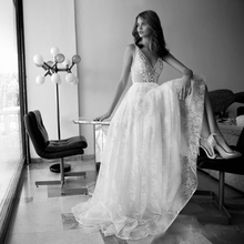 Verngo Appliques Lace Wedding Dress Sexy V-neck Backless Bride Dresses Long New Design Beach Gown