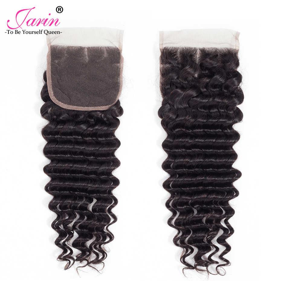 Jarin перуанский глубокая волна 4 Связки с закрытием 5 шт. швейцарский закрытия шнурка с пучками Бесплатная/средний/три часть человеческих волос