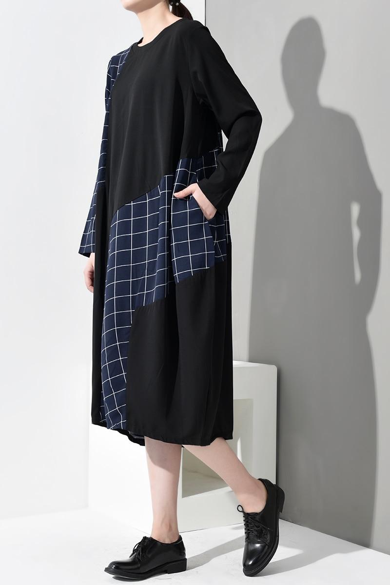New Fashion Style Long Sleeve Blue Plaid Printed Split Joint Loose Big Size Dress Fashion Nova Clothing