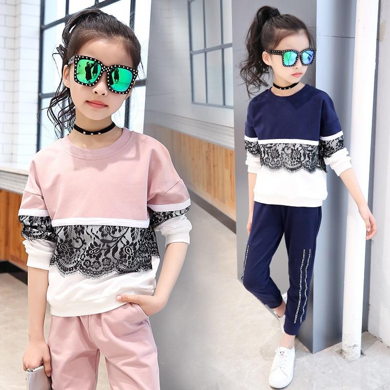 ef3f4f8d3 ... unids bebé niña conjunto algodón suéter rosa patchwork ropa niños niñas  establece pullover pantalones traje adolescente deporte ropa establece  cls133US ...
