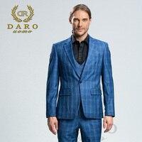 DARO 2018 New Men Suit 3 Pieces Fashion Plaid Suit Slim Fit Blue Grey Wedding Dress