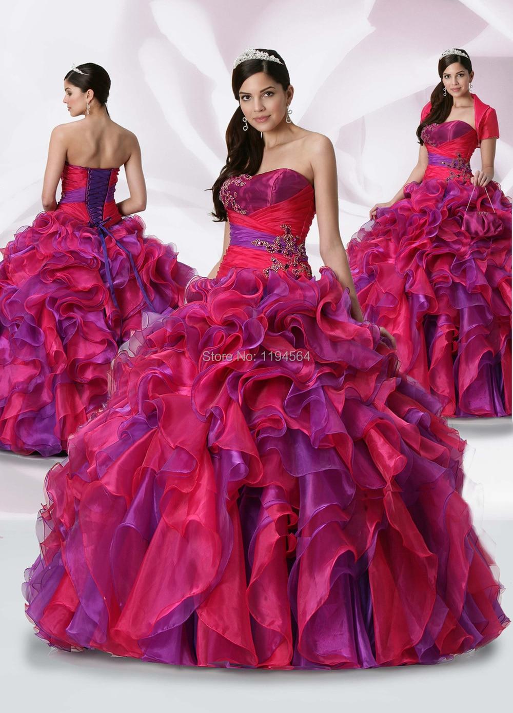Brillante púrpura y Fushia Quinceanera vestidos volantes de Organza ...