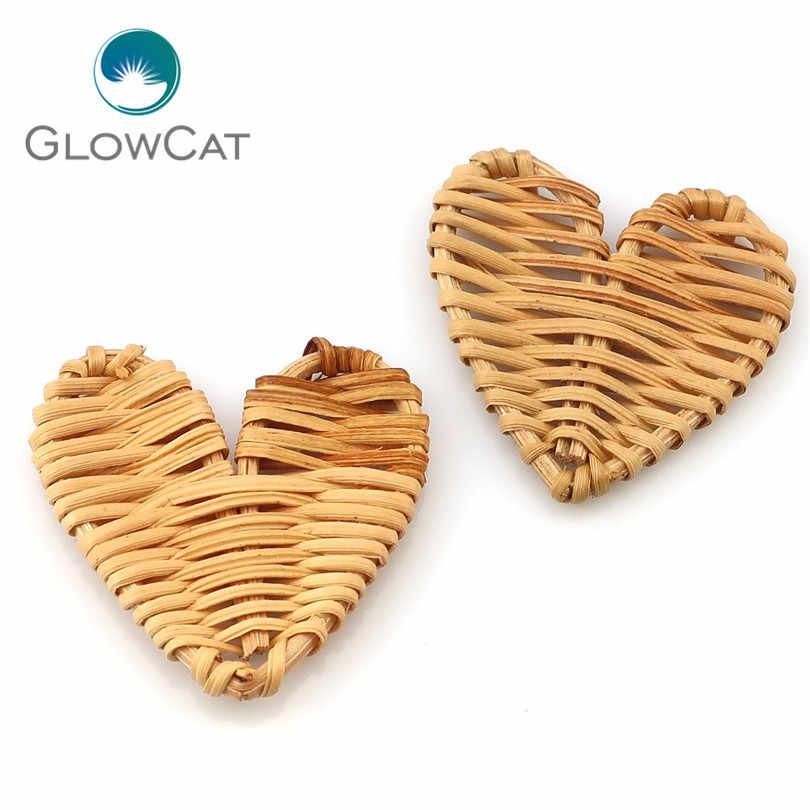 2pcs/lot Heart Style Handmade Rattan Weave Wooden Big Geometric Shape For Pendant Women DIY Drop Earrings