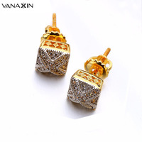 Square Cross Clear Cubic Zirconia Punk Earrings Screw Back High Quality Stud Earrings For Mens