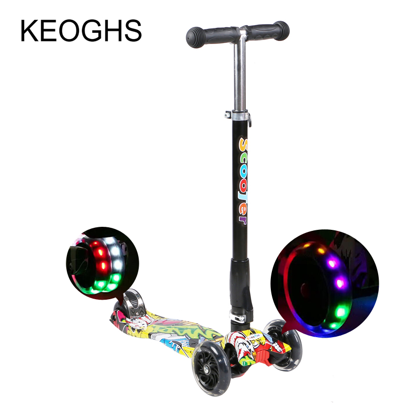Children kick scooter baby Foldable printing PU 3wheels LED outdoor sport Bodybuilding 3-15years old new the european ce standards pp plastic baby walkers scooters musical scooter for children 2 years of age or older