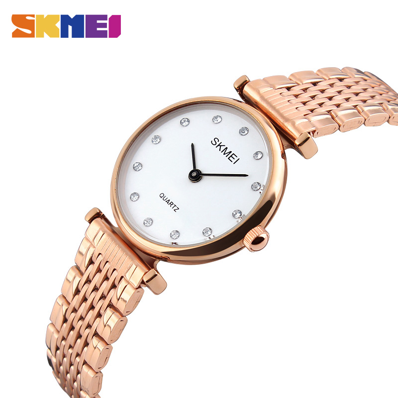 SKMEI Fashion Women Watches Casual Dress Girls Wristwatches Rhinestones Waterproof Rose Gold Ladies Watch Relogio Feminino 1223