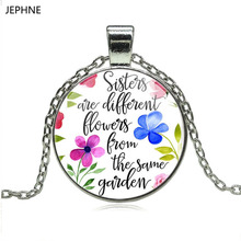 JEPHNE New Sisters are Flowers from the same Garden Lettering Floral Charm Pendant Necklace Sister Necklace Fashion Jewelry Gift