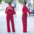 Sexy Red Cape Mulheres Macacões Com Decote Em V Calças Bodysuits Clubwear Playsuit Rompers Mulheres Macacão Sem Mangas Xale Longo Calças