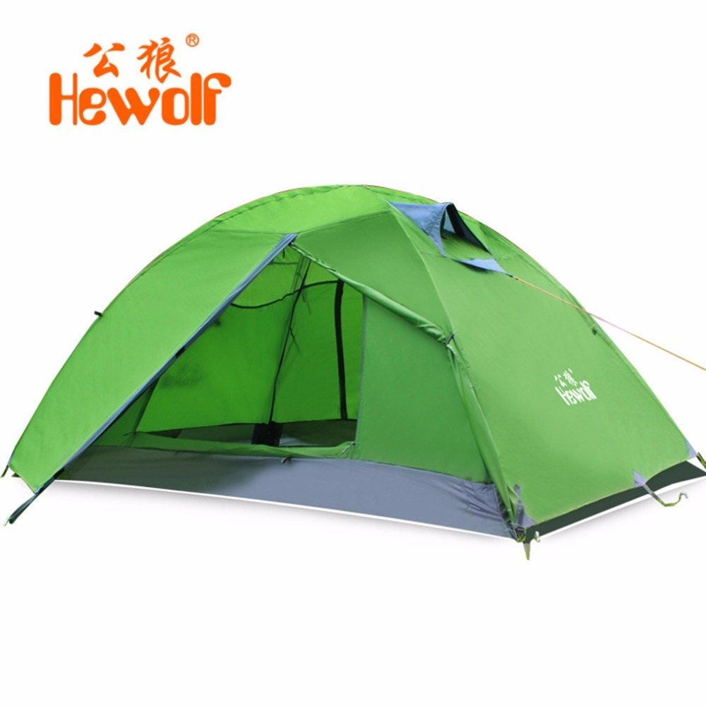 Hewolf Waterproof Windproof Double Layer Tent 2 People Outdoor Camping Tent One Bedroom & One Living Room Beach Tent Green/Blue hewolf 2persons 4seasons double layer anti big rain wind outdoor mountains camping tent couple hiking tent in good quality