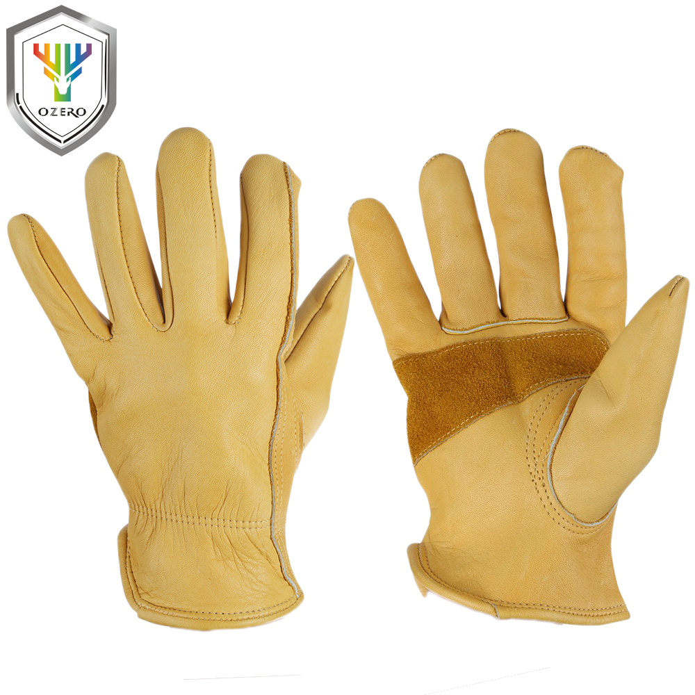OZERO New Men Work Gloves Welding Working Gloves Cowhide Leather Safety Protective Garden MOTO Wear-resisting Gloves 00011 ozero work gloves working hand type protective welding garden antistatic fishing safety goat leather work gloves for men 0009