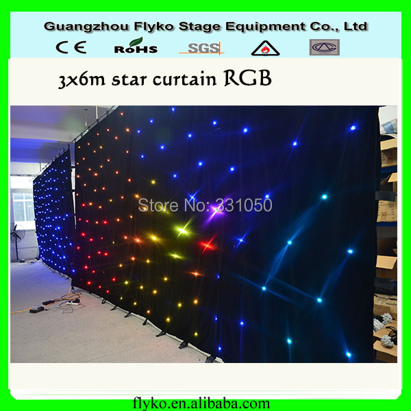Free shipping led star cloth stage backdrp 3x6m star effect