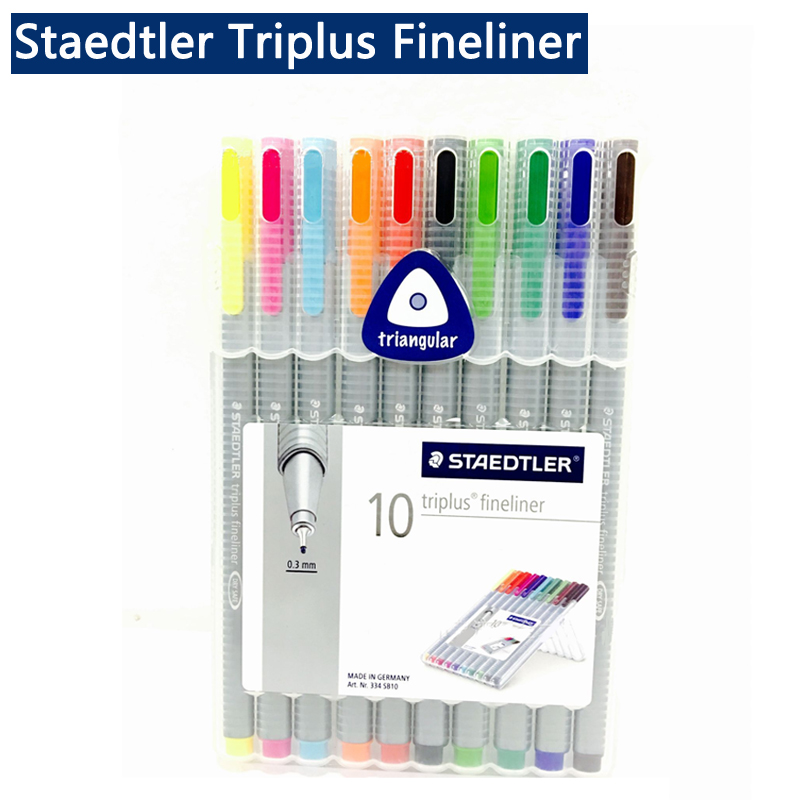 Staedtler Triplus Fineliner 334 Black Fine Tip Felt Tip 0.3mm Colored Marker Pen Drawing Liner Pen Paint Draw Liners Tiralineas genuine 20colors stabilo point 88 03 micron liner pen sketch marker set 0 4mm ultra fine micron pen draw liners art supplies