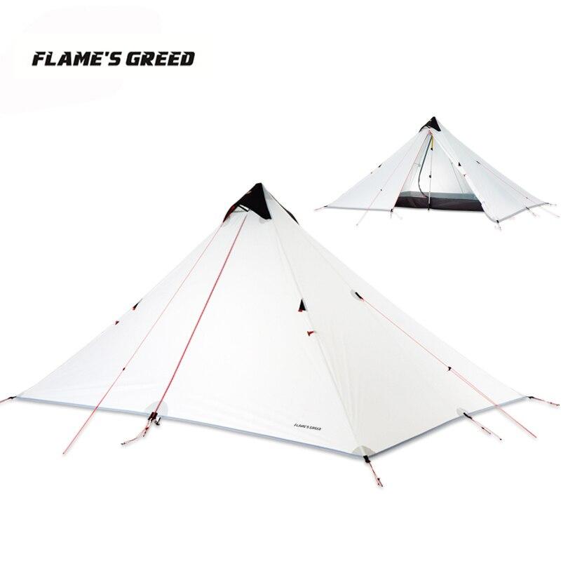LanShan 1 Verbesserte Einzelne Person 15D Silikon Beschichtung Kolbenstangenlosen Doppel Schichten Zelt Wasserdichte Tragbare Ultraleicht Camping 3 Saison