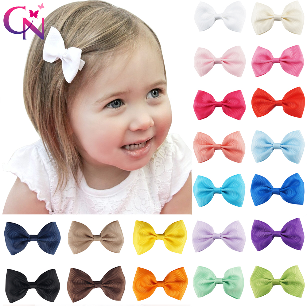 20 Pcs/lot 3 Plain Ribbon Bows With Hair Clips For Kids Girls Mini Hair Bows Barrettes Hairpins Hairgrips Hair Accessories 24pc hair styling braid hair snap clips for girls headwear hair ornaments black snap hairgrips hairclip barrettes hairpins clips