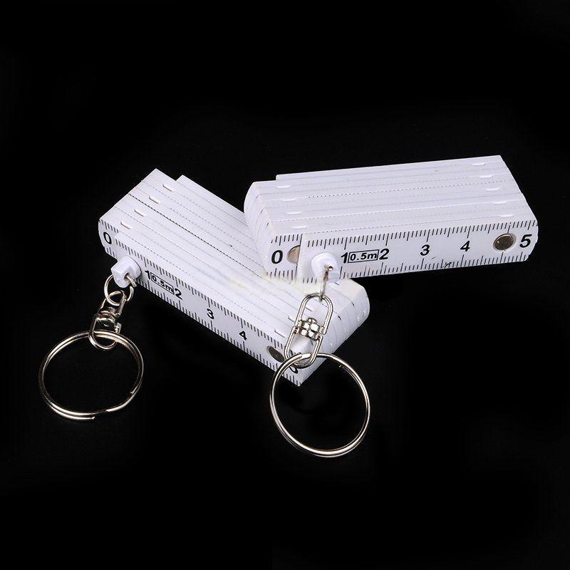 Measuring Measure Test Rulers For Carpenter Keyring Plastic Tape 2pcs Practical Assorted Folding Mini Ring Ruler