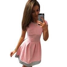 Women Casual Dress Short Sleeve Patchwork O-Neck Dresses Mini Women's Dress Plus Size Women Clothing LJ3856M