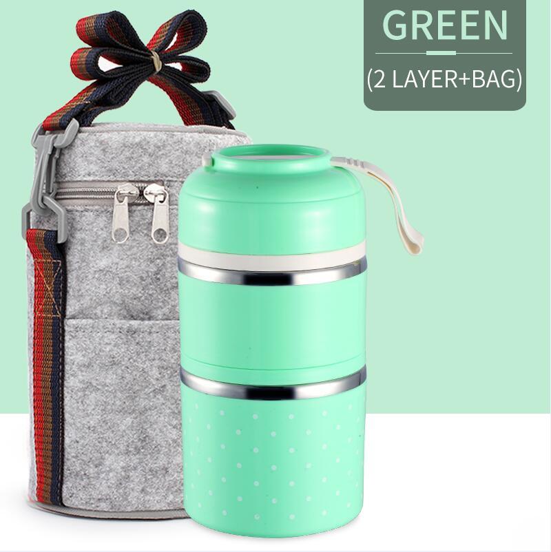 Милые детские Термальность Коробки для обедов герметичность Нержавеющая сталь Bento box для детей Портативный Пикник школа Еда контейнер Box - Цвет: Green 2 With Bag