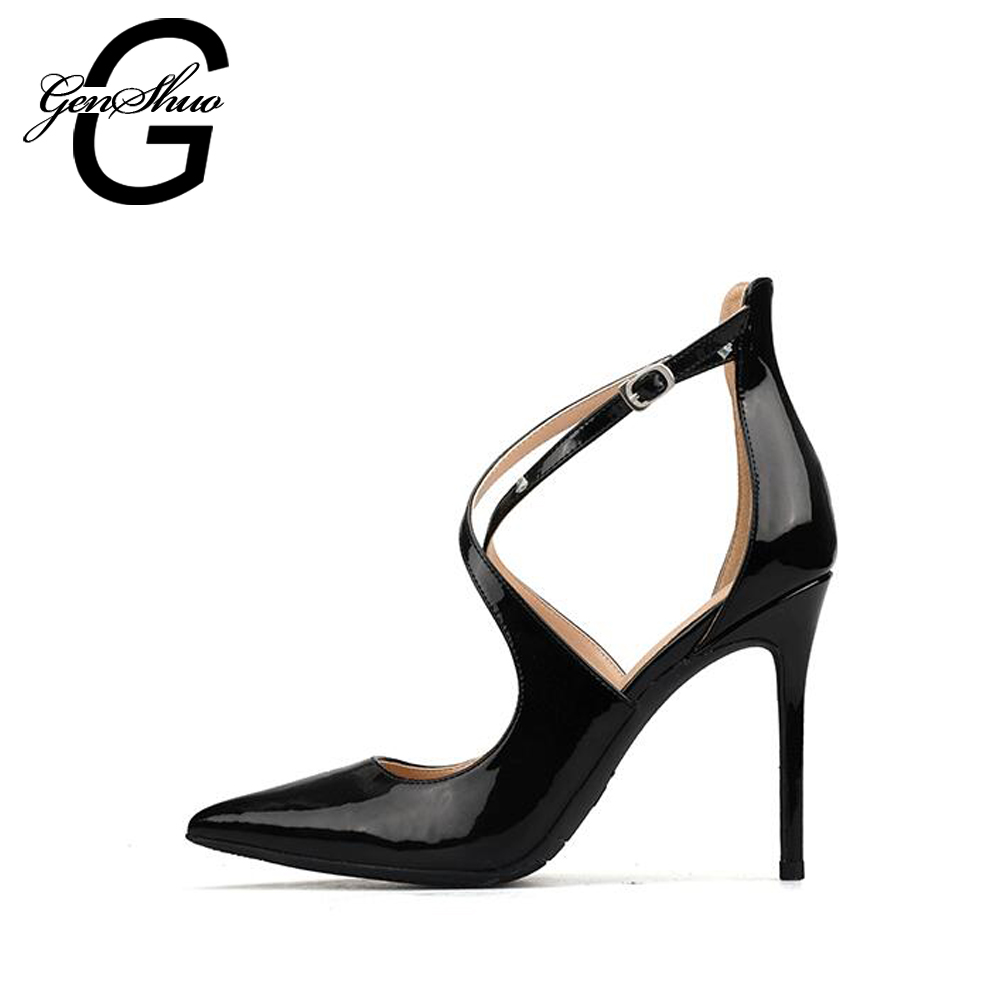 GENSHUO Shoes Women Sandals High Heels Summer Black 6cm 8cm 10cm Close Toe Buckle Cross Strap Sandals Women Thin Heel Size 32-42 women pointed toe buckle thin high heels red bottom sandals shoes t strap print leather plus size lady sandals 42 51 sxq0710