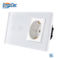 EU standard 2gang 1way remote wall switch and Germany wall socket