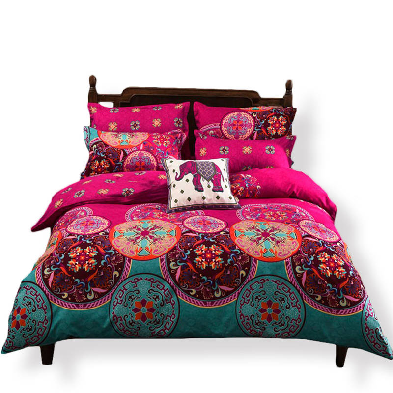 bohemian Bed sheets sets linens multicolor abstract floral cotton bedspread Queen King Double size quilt cover bedding setsbohemian Bed sheets sets linens multicolor abstract floral cotton bedspread Queen King Double size quilt cover bedding sets
