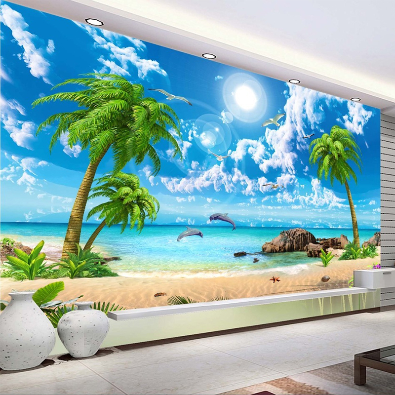 Custom Wallpaper 3D Beautiful Palm Beach Seaside Landscape Photo Wall Papers Living Room TV Sofa Bedroom Backdrop Wall 3D Murals the custom 3d murals parks sunrises and sunsets trees heart grass nature wallpapers living room sofa tv wall bedroom wall paper