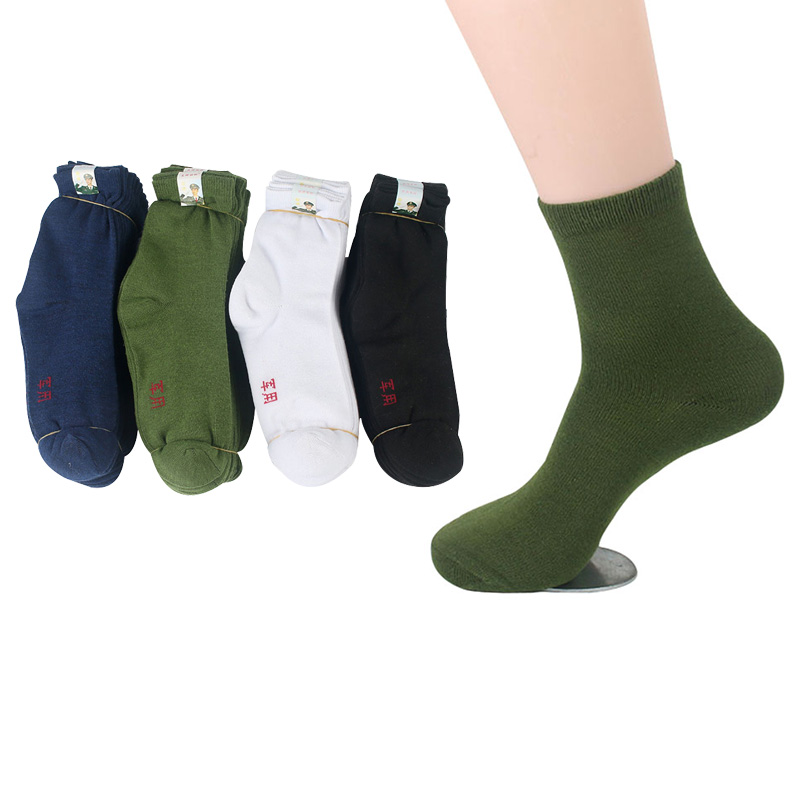 10Pairs Men Socks Factory Price Durable Wear-resistant Practical Solid Color Male Sock Mature High Quality Army Green Sock Meias