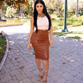 New 2016 Autumn Winter Sexy Clubwear Faux Leather PU Bandage Skirt Women Fashion Stretch Waist Short Midi Skirts