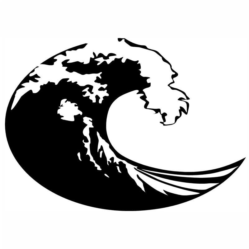 20.5*15.3 cm onda surf adesivos de carro adesivos engraçado dos desenhos animados decoração decalques da motocicleta estilo do carro preto prata C2-0483