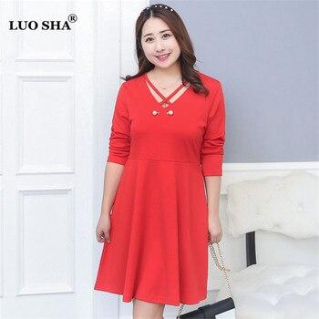 LUO SHA XL-4XL Plus Size Ladies Dress Women Dress Beading Spring-summer Dresses V-neck Long Sleeve Vestidos de Verano