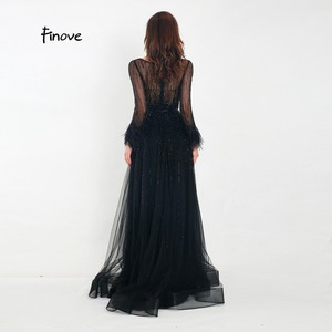 Image 3 - Finove Evening Dress 2020 New Arrivals Gorgeous Black A Line Gowns Full Sleeves Feathers Neck Line Floor Length Formal Dress