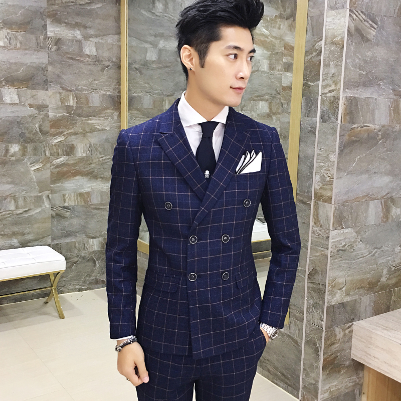 3 Psc 2017 Envmenst Brand High Quality Mens Plaid Suit Set Blazer+Vest+Pants Groom Double breasted Man Wedding Suit Set