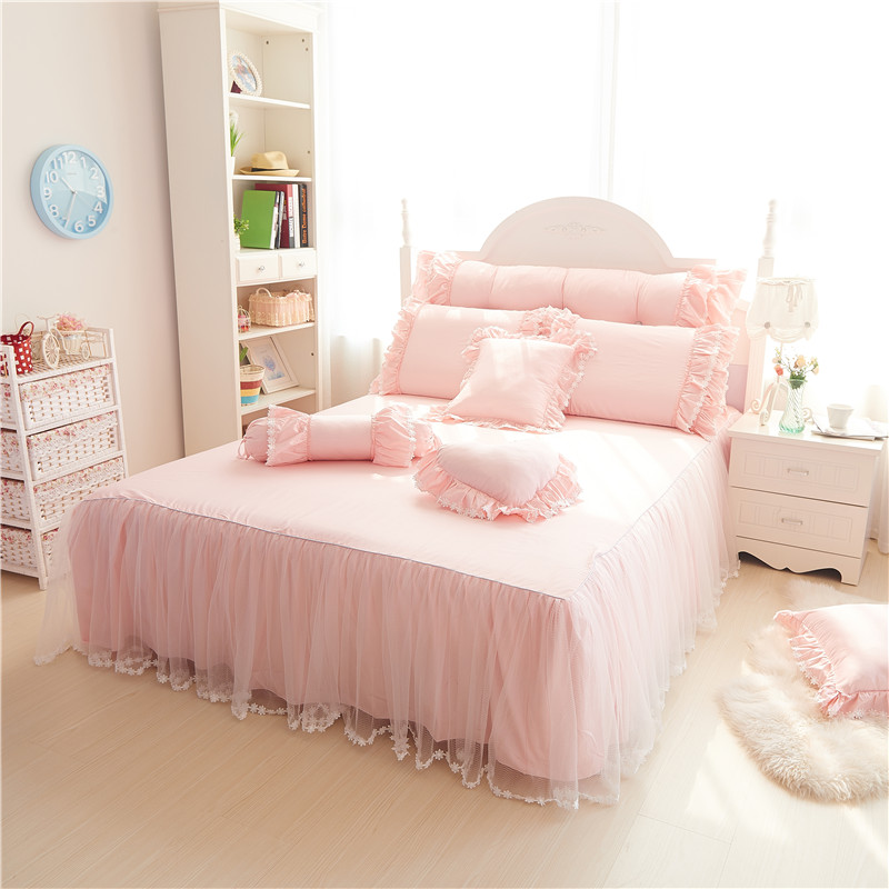 Full Queen King Size Lace Princess Korea Style Bedding Set 60s Cotton High Thread Count Duvet Cover Bed Skirt Pillowcases