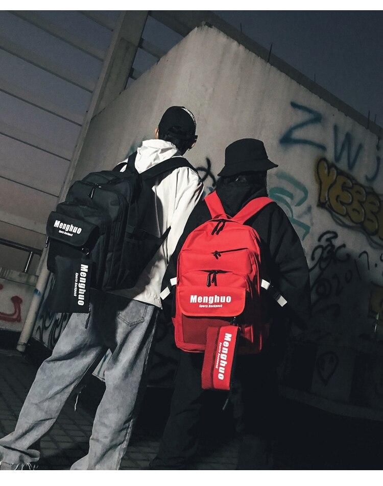 Menghuo 2PCS Mesh Pocket Backpack Purse Set New Girls Big Capacity School Bag Letters Travel Bag Men Rucksacks Mochilas Escolar_30_07