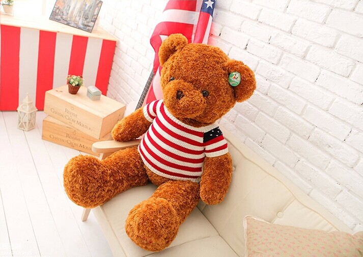 lovely plush teddy bear toy US flag sweater teddy bear doll gift doll about 80cm brown 0133 футболка toy machine leopard brown