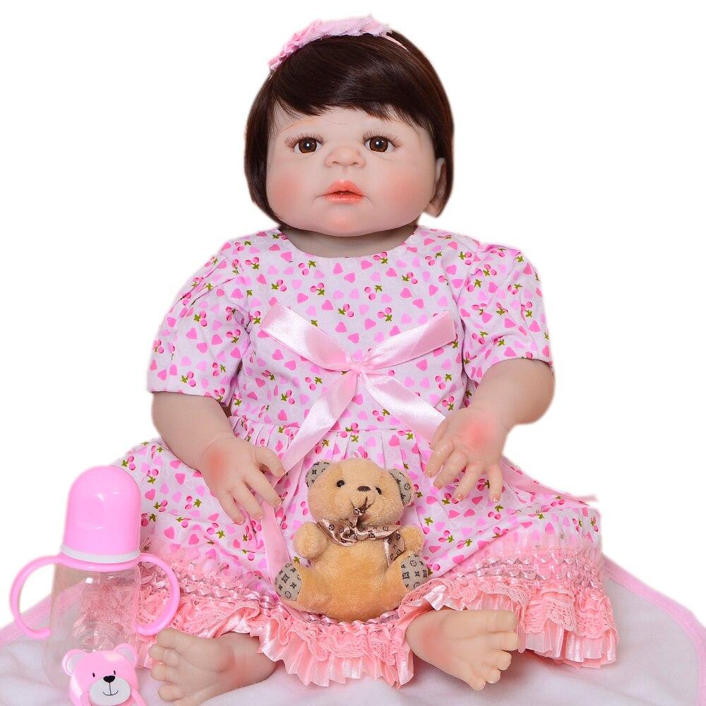 Lifelike Princess Full Silicone Vinyl Reborn Baby Dolls 23 inch Realistic Newborn Doll Sweet Baby Girl Toys Kid Birthday Gifts цена
