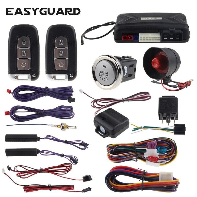 EASYGUARD PKE alarme de voiture passif sans clé démarrage à distance démarreur et bouton de démarrage 12 v capteur de choc avertissement clé intelligente