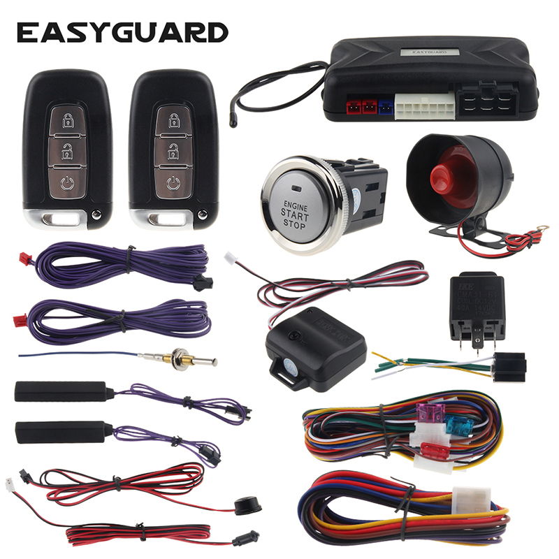 PKE Car Alarm Passive Keyless Entry EASYGUARD Remote Start Stop & Push Start Button 12v Shock Sensor Warning Smart Key Alarm