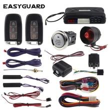 PKE car alarm passive keyless entry EASYGUARD remote start stop & push start button 12v shock sensor warning smart key alarm цена